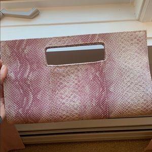 Pink/purple snakeskin clutch bag